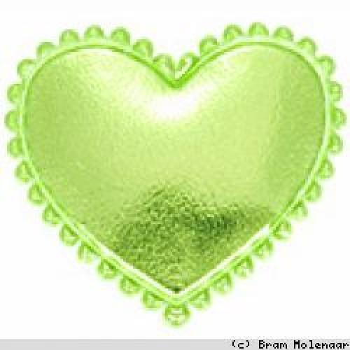Vinyl hart groen 35x30 mm