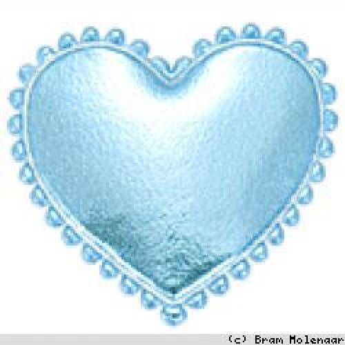 Vinyl hart blauw 35x30mm