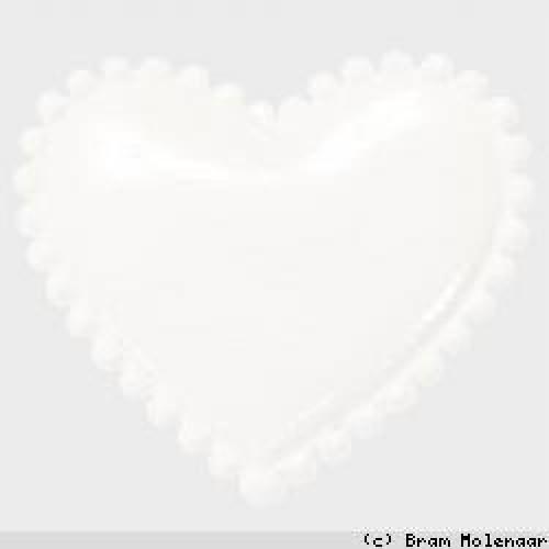 Vinyl hart wit 35x30mm