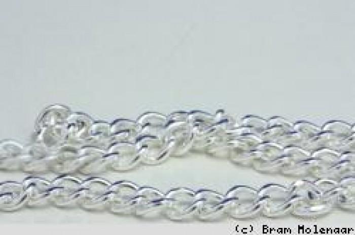 Ketting   zilverkleurig  nikkelvrij  per 100cm verpakt  de oogjes zijn 5 lengte * 5mm breed